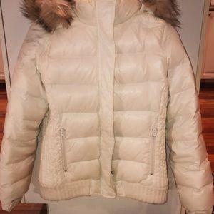 Women's American Eagle Cream Puffer Coat